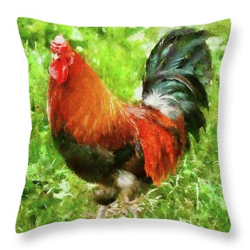 Farm - Chicken - The Rooster Throw Pillow by Mike Savad