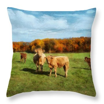 Farm Field And Brown Cows Throw Pillow