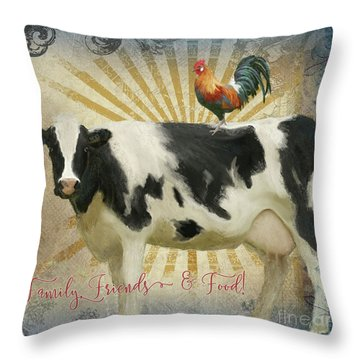 Throw Pillow featuring the painting Farm Fresh Barnyard Animals Cow Rooster Typography by Audrey Jeanne Roberts