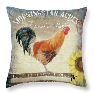 Throw Pillow featuring the painting Farm Fresh Barnyard Rooster Morning Sunflower Rustic by Audrey Jeanne Roberts