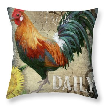 Throw Pillow featuring the painting Farm Fresh Daily Red Rooster Sunflower Farmhouse Chic by Audrey Jeanne Roberts