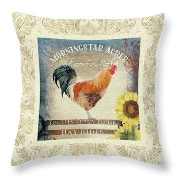 Throw Pillow featuring the painting Farm Fresh Damask Barnyard Rooster Sunflower Square by Audrey Jeanne Roberts