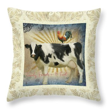 Throw Pillow featuring the painting Farm Fresh Damask Milk Cow Red Rooster Sunburst Family N Friends by Audrey Jeanne Roberts