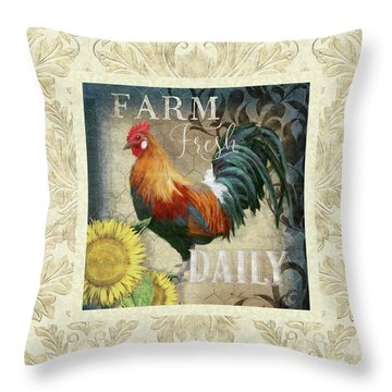 Throw Pillow featuring the painting Farm Fresh Damask Red Rooster Sunflower by Audrey Jeanne Roberts
