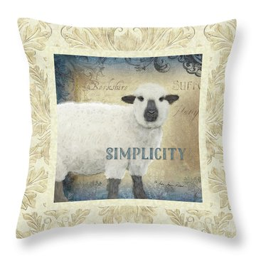 Throw Pillow featuring the painting Farm Fresh Damask Sheep Lamb Simplicity Square by Audrey Jeanne Roberts