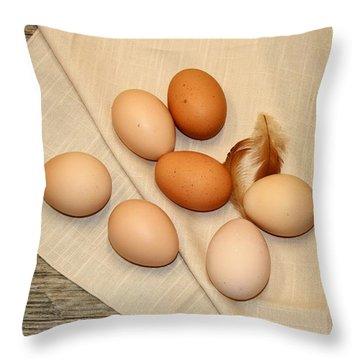 Farm Fresh Eggs Throw Pillow