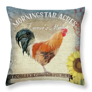 Throw Pillow featuring the painting Farm Fresh Morning Rooster Sunflowers Farmhouse Country Chic by Audrey Jeanne Roberts