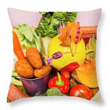 Farm Fresh Produce Throw Pillow