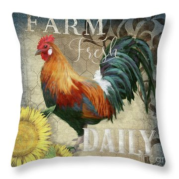 Throw Pillow featuring the painting Farm Fresh Red Rooster Sunflower Rustic Country by Audrey Jeanne Roberts