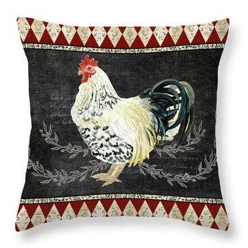 Farm Fresh Rooster 3 - On Chalkboard W Diamond Pattern Border Throw Pillow by Audrey Jeanne Roberts