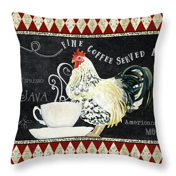 Throw Pillow featuring the painting Farm Fresh Rooster 5 - Coffee Served Chalkboard Cappuccino Cafe Latte  by Audrey Jeanne Roberts