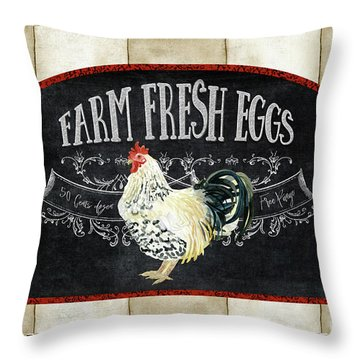 Throw Pillow featuring the painting Farm Fresh Roosters 1 - Fresh Eggs Typography by Audrey Jeanne Roberts