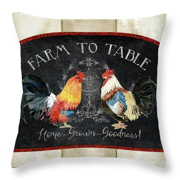 Farm Fresh Roosters 2 - Farm To Table Chalkboard Throw Pillow by Audrey Jeanne Roberts