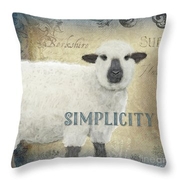 Throw Pillow featuring the painting Farm Fresh Sheep Lamb Simplicity Square by Audrey Jeanne Roberts