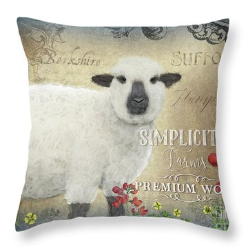Throw Pillow featuring the painting Farm Fresh Sheep Lamb Wool Farmhouse Chic  by Audrey Jeanne Roberts