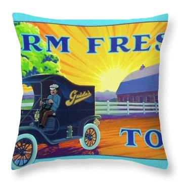 Throw Pillow featuring the painting Farm Fresh To You  by Alan Johnson