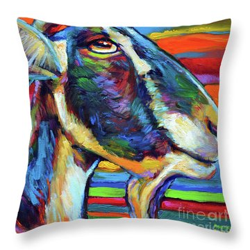 Throw Pillow featuring the painting Farm Goat by Robert Phelps