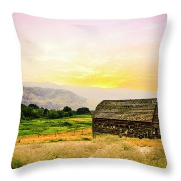 Twilight At The Okanagan Farm House Canada Throw Pillow