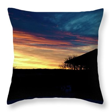 Farm House Sunset Throw Pillow