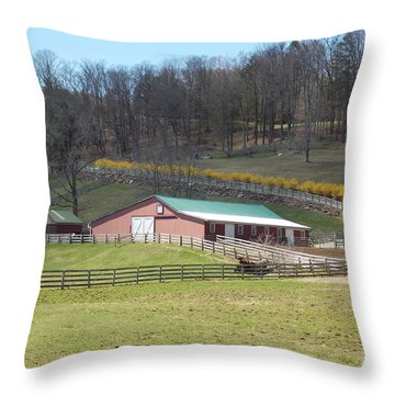 Farm In Canaan Connecticut Throw Pillow by Catherine Gagne