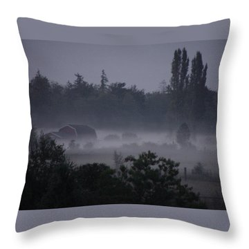 Farm In Fog Throw Pillow