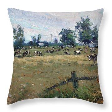 Farm In Terra Cotta On Throw Pillow