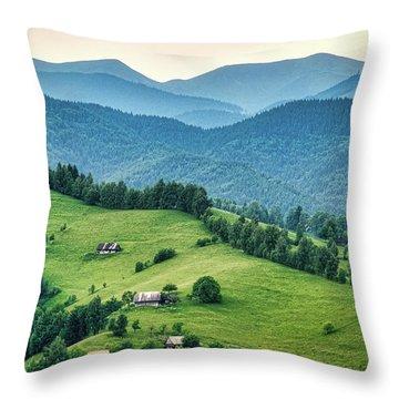 Farm In The Mountains - Romania Throw Pillow