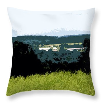 Farm In The Valley Throw Pillow