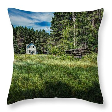 Farm In The Woods Throw Pillow