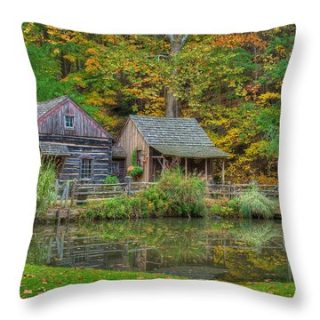 Farm In Woods Throw Pillow