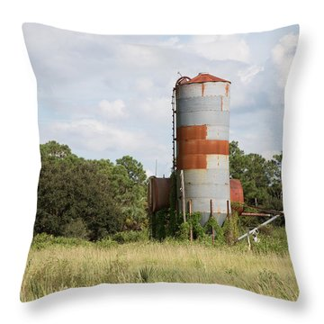 Farm Life - Retired Silo Throw Pillow by Christopher L Thomley