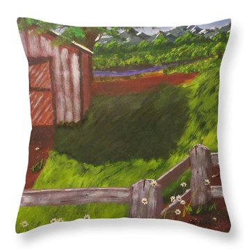 Farm Painting Throw Pillow