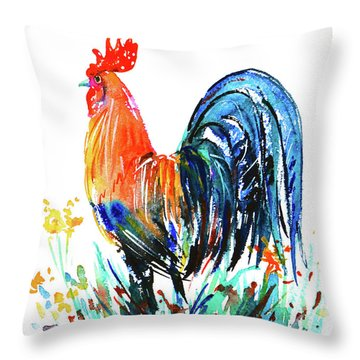Throw Pillow featuring the painting Farm Rooster by Zaira Dzhaubaeva