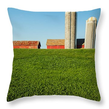 Farm Silos And Shed On Green And Against Blue Throw Pillow