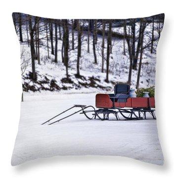 Farm Sleigh Throw Pillow