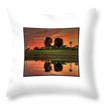 Farm Sunset Throw Pillow