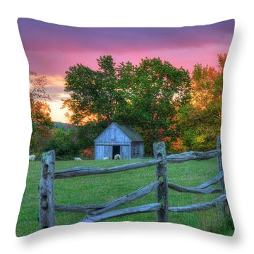 Throw Pillow featuring the photograph Farm Sunset In Autumn - Hollis Nh by Joann Vitali