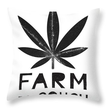 Farm To Couch Black And White- Cannabis Art By Linda Woods Throw Pillow