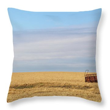 Farm Trailer In The Middle Of Field Throw Pillow