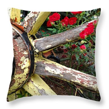 Throw Pillow featuring the photograph Farm Wagon And Roses by Scott Kingery