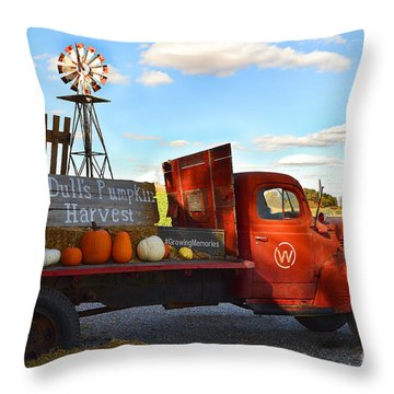Farm With Red Truck In Fall  Throw Pillow