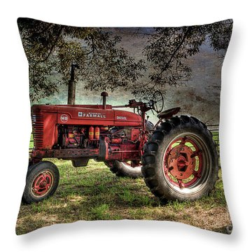 Farmall In The Field Throw Pillow