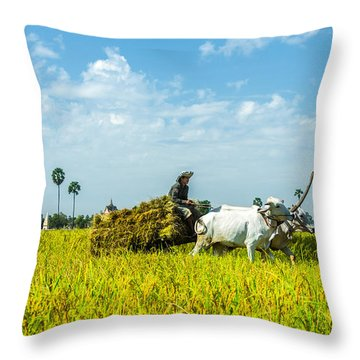 Farmer Carrying Rice With Cow Throw Pillow