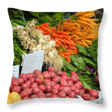 Throw Pillow featuring the photograph Farmer's Market by Jeanette French