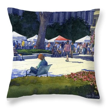 Farmers Market, Madison Throw Pillow