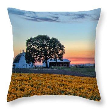 Farmhouse Among The Wallflowers Throw Pillow