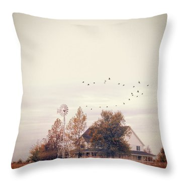 Farmhouse And Windmill Throw Pillow by Jill Battaglia