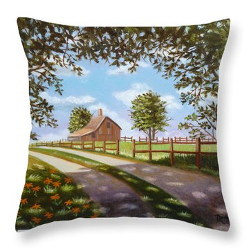 Farmhouse Framed By Trees Throw Pillow
