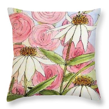 Throw Pillow featuring the painting Farmhouse Garden by Laurie Rohner