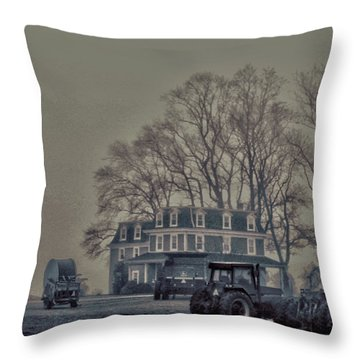 Farmhouse In Morning Fog Throw Pillow